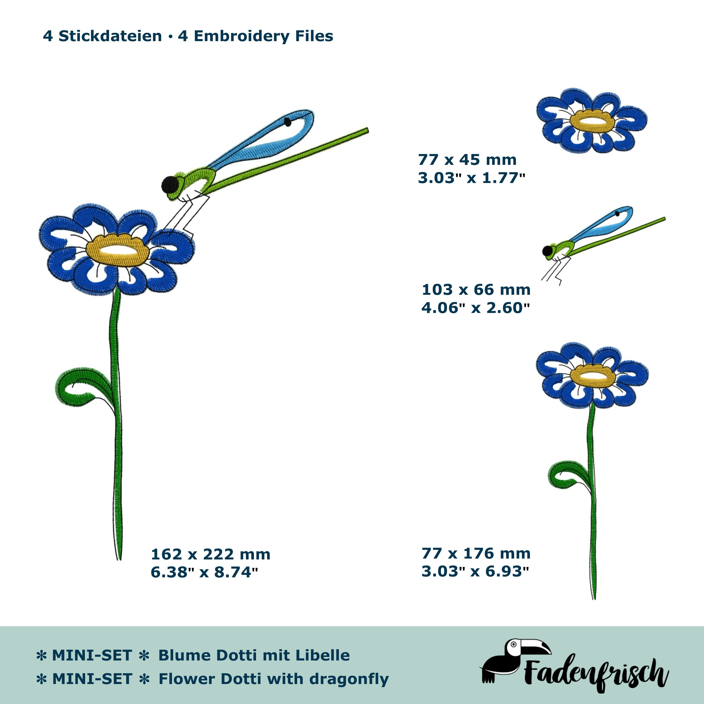 Mini-Set Blume Dotti mit Libelle - 4 Stickdateien