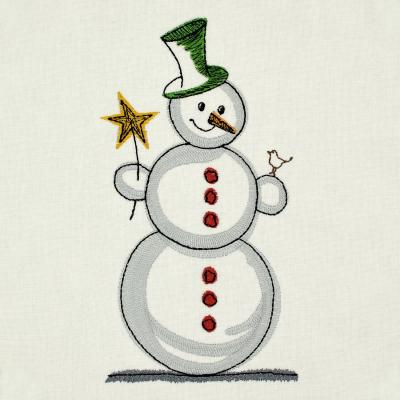 Embroidery Design - Snowman with bird