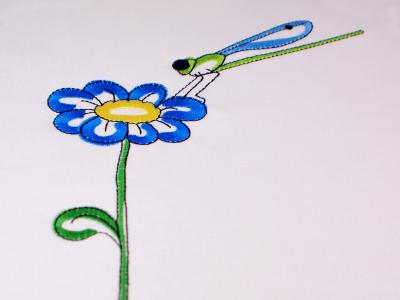 Embroidery design flower Dotti with dragonfly - Spring design - Download embroidery file by FADENFRISCH