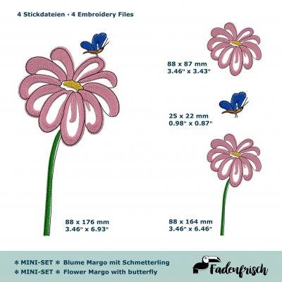Stickmotiv Blume Marge mit Schmetterling - SET - Download Stickdatei von FADENFRISCH