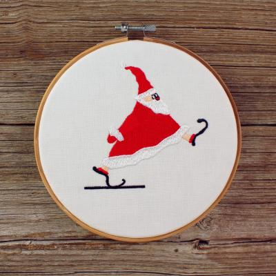 Embroidery design Santa Claus with skates - Download embroidery file by FADENFRISCH