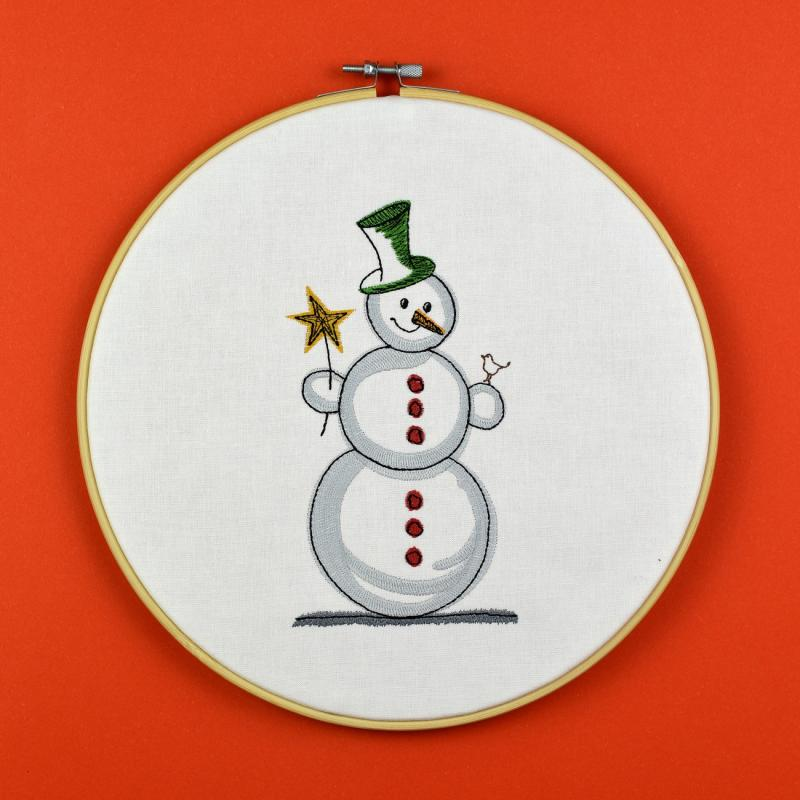 Embroidery design Snowman with bird - Download embroidery file by FADENFRISCH
