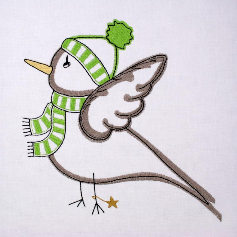 Embroidery design winterly Birdie with cap - Download embroidery file by FADENFRISCH